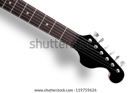 Guitar Neck Front Side Electric Made Of Black Polymer And Wood