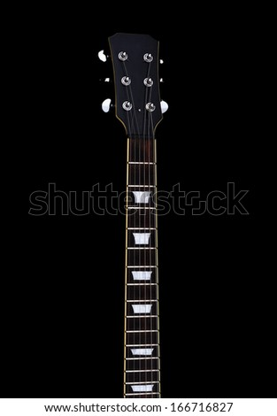 Guitar neck front side. Isolated on a white background.