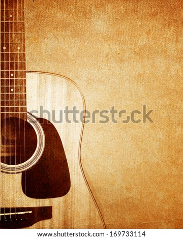 Guitar on grunge background. - stock photo