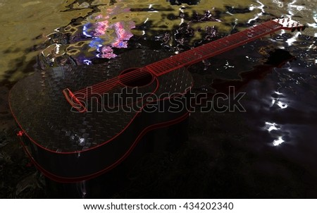 Guitar on the water with illuminated strings and other parts - 3D rendering