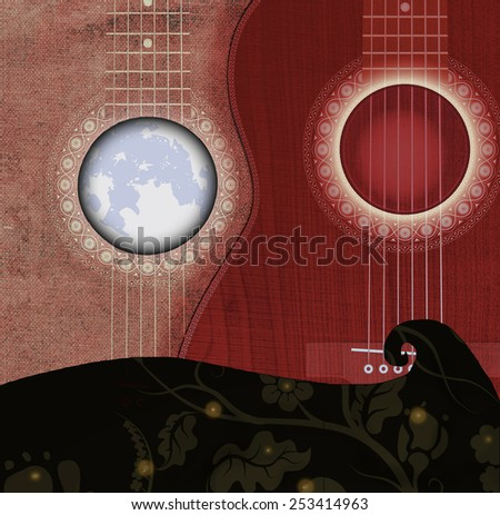 Guitar on wave with moon
