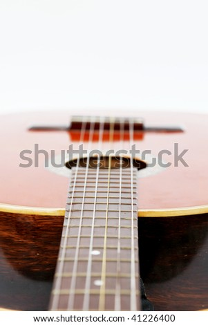 Guitar perspective over white background. Isolated image