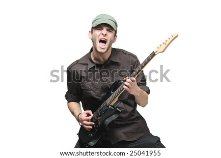 Guitar player isolated against white background - stock photo