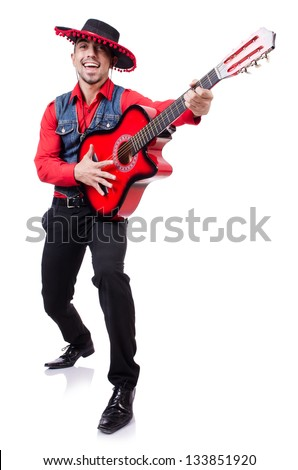 Guitar player isolated on the white - stock photo