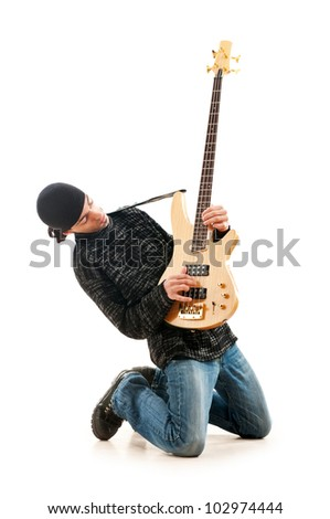 Guitar player isolated on the white background - stock photo