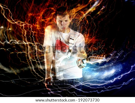 Guitar player with white electric guitar surrounded by lightnings - stock photo