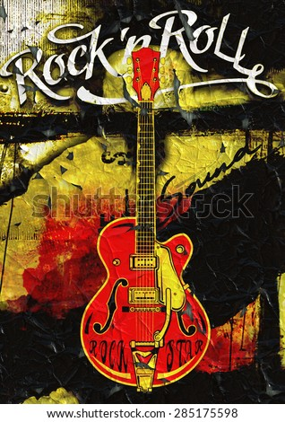 Guitar Rock'n Roll poster design - stock photo