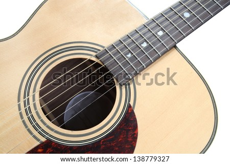 Guitar Soundhole, Bridge, and Fingerboard under the white background