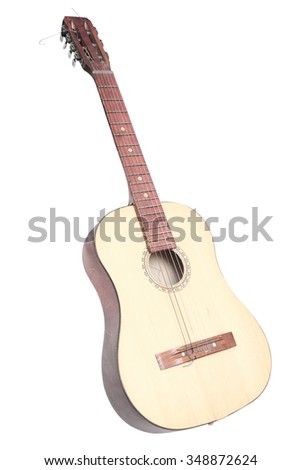 guitar under the light background - stock photo