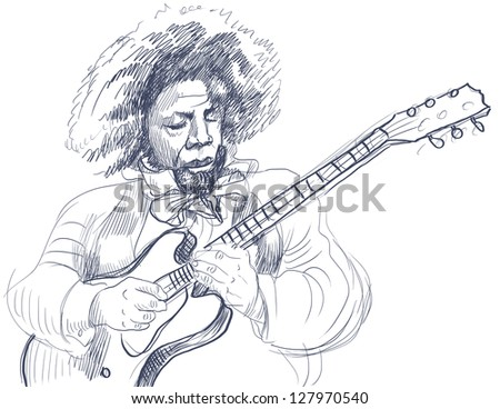 Guitar Virtuoso. /// A hand drawn illustration of an excellent guitar player. /// Outlines in shades of blue and gray isolated on white. - stock photo