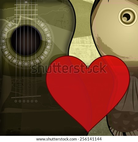Guitar with art and love - stock photo