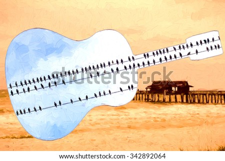 Guitar with birds and Fishing Pier in Naples, Florida - stock photo