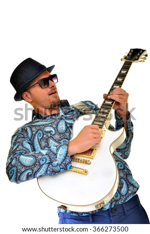 guitarist isolated on white background - stock photo
