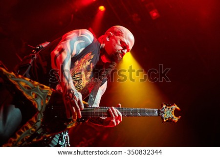 "Guitarist Kerry King of Slayer performs live on stage during a Repentless concert at ""Stadium-Live"" on December 9, 2015 in Moscow, Russia."
