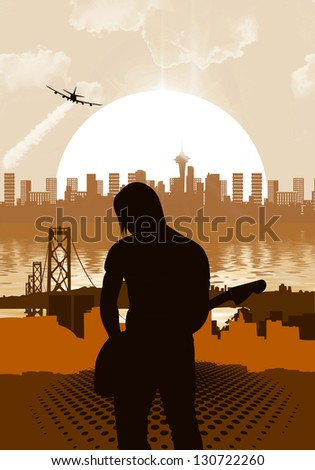 guitarist on background - stock photo
