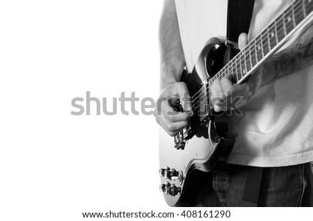 Guitarist on white background - stock photo