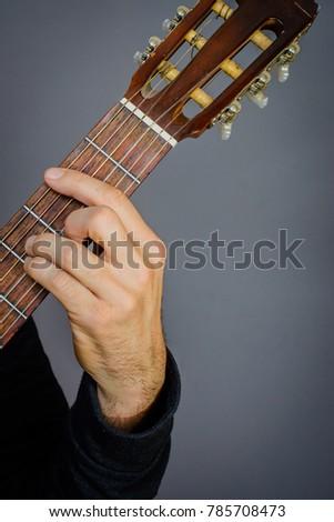 Guitarist Playing B Minor Chord On Stock Photo (Edit Now) 785708473 ...