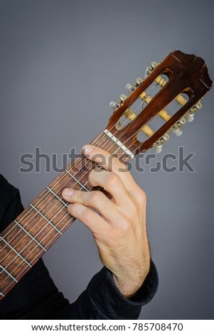 Guitarist Playing Bb Major Chord On Stock Photo (Edit Now) 785708470 ...