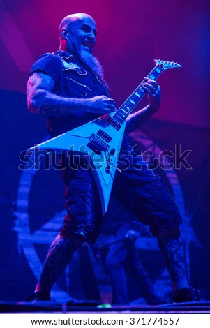 "Guitarist Scott Ian of Anthrax performs live on stage during a  concert at ""Stadium-Live"" on December 9, 2015 in Moscow, Russia."