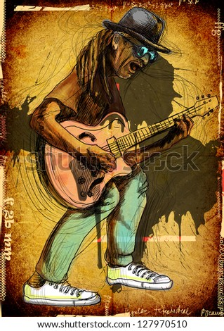 Guitarist, whole body and soul. /// A hand drawn illustration of an excellent guitar player. /// Color version on grunge background. - stock photo