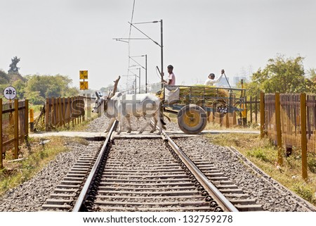 GUJARAT, INDIA - MARCH, 2013: Railroad tracks where a bullock cart carrying farm produce crosses a dangerous barrierless unmanned track typical of infrastructure on March 1, 2013 in Gujarat, India. - stock photo