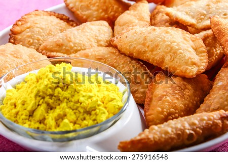 gujia special dish for holi festival in india - stock photo