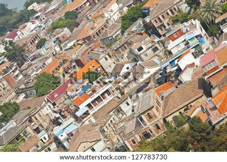 Gulang Yu Island in Xiamen, China with many historial buildings - stock photo