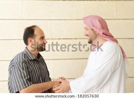 Gulf Arabic Muslim people posing - stock photo