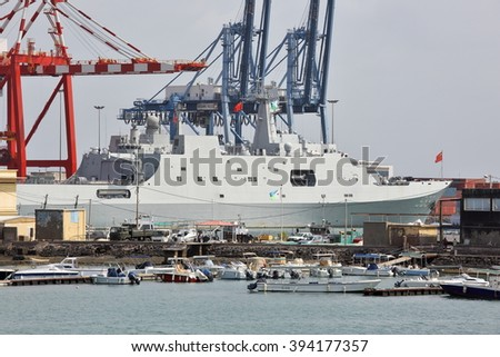 GULF OF ADEN, DJIBOUTI FEBRUARY 06, 2016: Chinese warship in the port of Djibouti