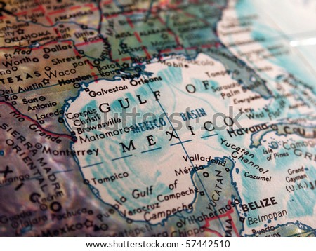 Gulf of Mexico on Globe - stock photo
