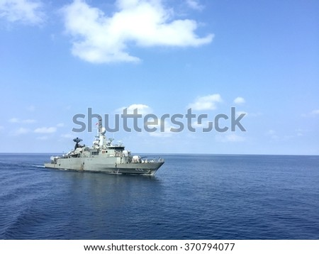 Gulf of Thailand 5 Jan : HTMS.Sukhothai training at sea.this ship is Royal Thai Navy corvette class.gulf of Thailand 5 Jan 2016