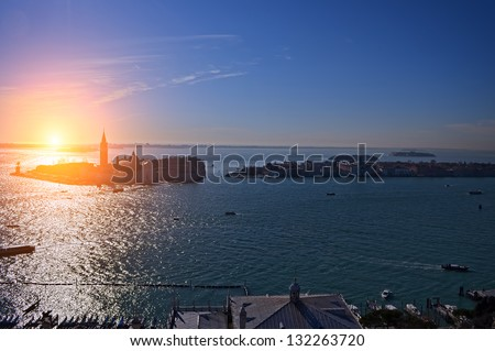 Gulf of Venice, Beautiful water street - evening view Venice, Italy - stock photo