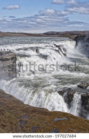 gulfoss waterfall in iceland on sunny day