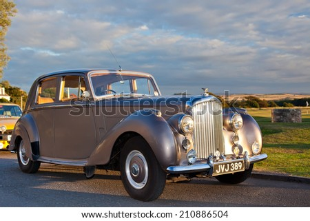 GULLAN?, SCOTLAND - SEPTEMBER 5, 2013: The Bentley Mark VI 4-door standard steel sports saloon was the first post-war luxury car from Bentley. Production 1946-1952, 5208 produced.  - stock photo