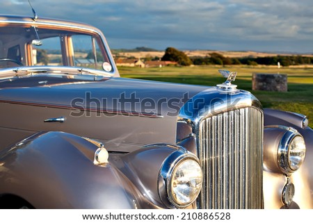GULLAN?, SCOTLAND - SEPTEMBER 5, 2013: The Bentley Mark VI 4-door standard steel sports saloon was the first post-war luxury car from Bentley. Production 1946-1952, 5208 produced.  - stock photo