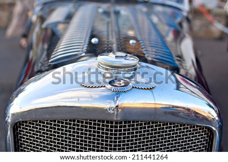 GULLANE, SCOTLAND - SEPTEMBER 5, 2013: Bentley Speed Six was sports and luxury car based on Bentley rolling chassis in production from 1928 to 1930. - stock photo
