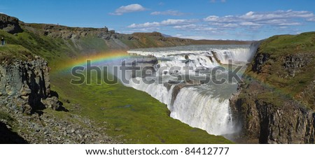 Gullfoss falls and rainbow in the Iceland - stock photo