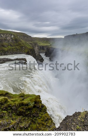 Gullfoss (Golden Falls)  in southwest Iceland.