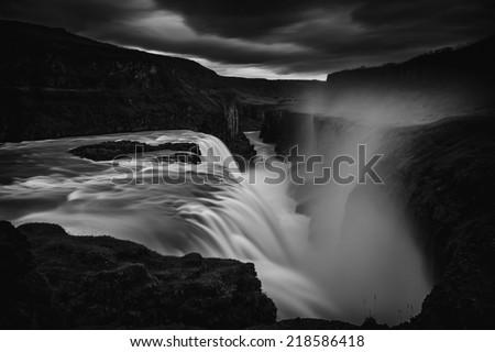 Gullfoss (Golden Falls) in southwest Iceland.  - stock photo