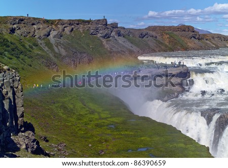 Gullfoss (Golden falls) waterfall and rainbow in Iceland