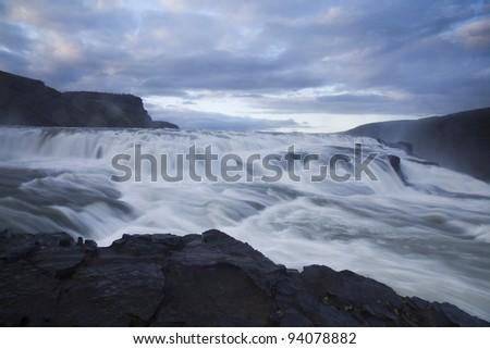 Gullfoss, Iceland waterfall - stock photo