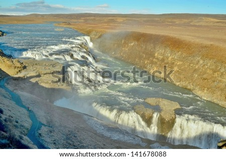 Gullfoss waterfall - stock photo