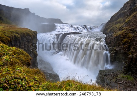 Gullfoss. Waterfall located in the canyon of Hvita river in southwest Iceland. - stock photo