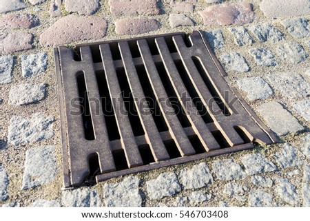 Gully cover in a street