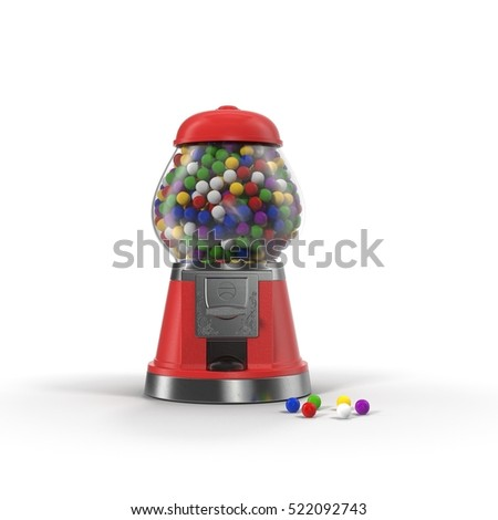 Gumball machine isolated on white. 3D illustration