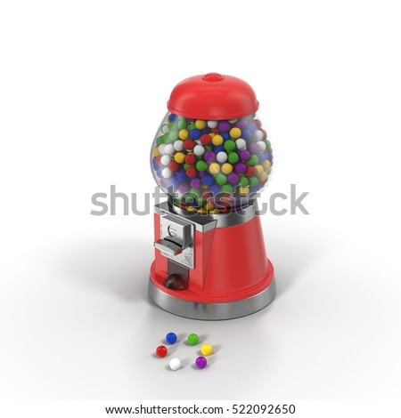 Gumball vending machine filled with colorful gumballs isolated on white. 3D illustration