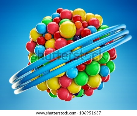 gumballs grouped into an invisible spherical shape