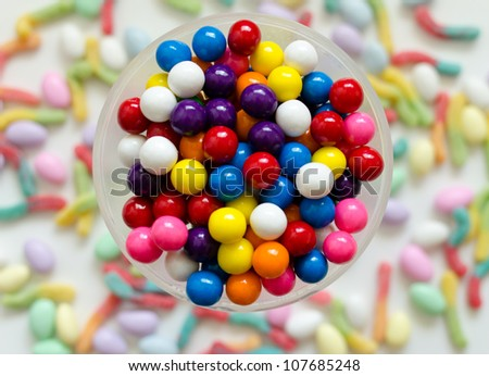Gumballs with Candy Background - stock photo