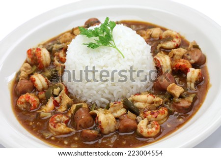 gumbo with crawfish, chicken & sausage, southern food in the united states - stock photo