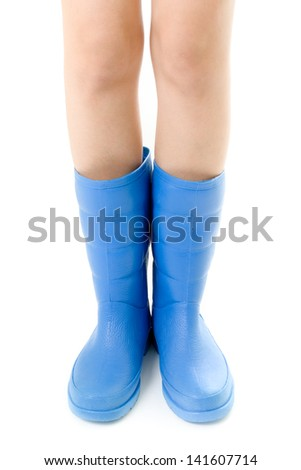Gumboots. Raining season and water flood concept. - stock photo